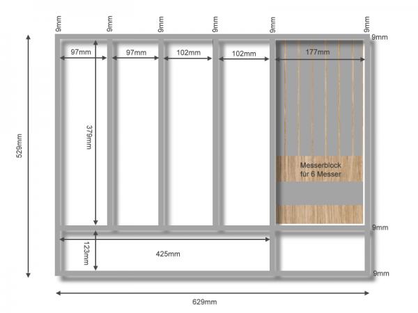 Besteckeinsatz für Schubladen mit geraden Zargen *Sonderanfertigung, ohne Boden* Eiche