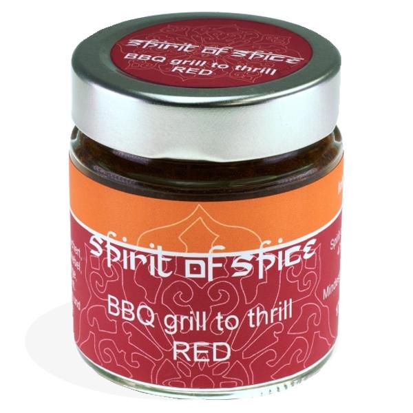 """Gewürzgläschen """"BBQ grill to thrill RED"""""""